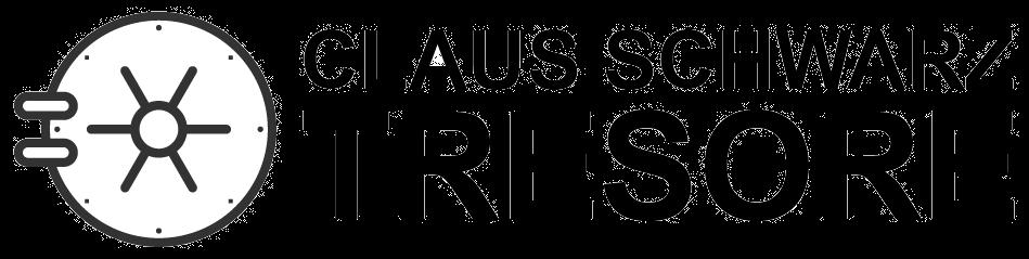 Schwarz Tresore Logo mit einer Wertraumtür als Symbol